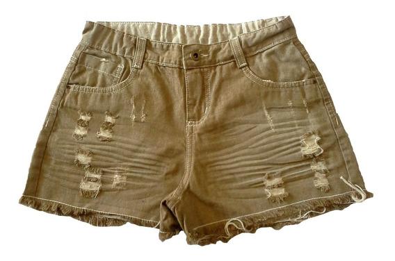 Shorts Jeans Bege Feminino Juvenil Tam. 10 Ao 16 - Ref. 1263