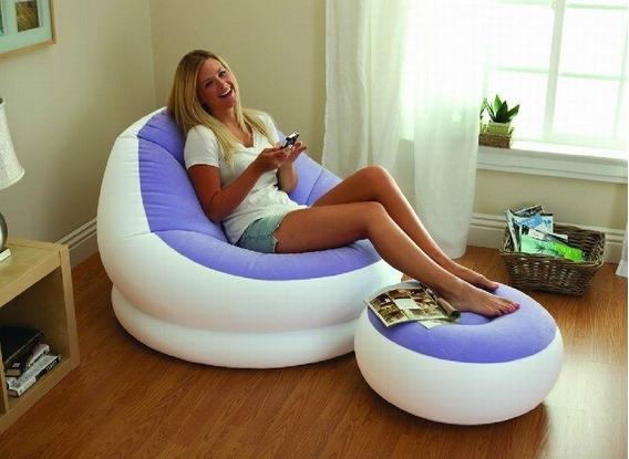 Conjunto Poltrona E Puff Roxo Intex Lounge Chaise
