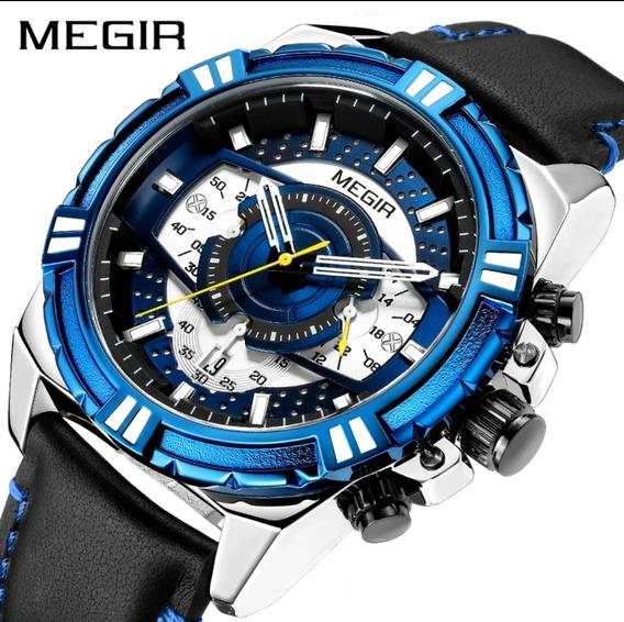 Relógio Megir® 100% Original Com Cronógrafo Todo Funcional!