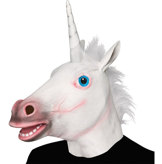 Mascara Unicornio Loco Latex Caballo Blanco Disfraz Adulto