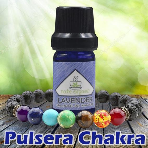 Pulsera 7 Chakras Piedra Volcánica Reiki + Aceite Esencial