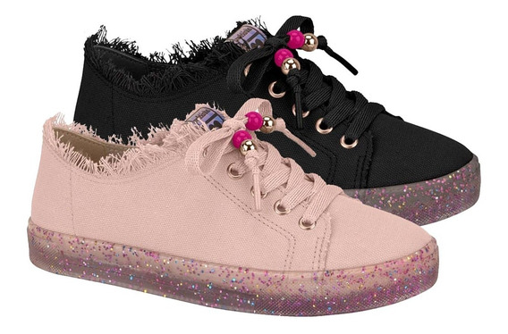Sapato Infantil Tenis Casual Molekinha Com Sola Em Glitter