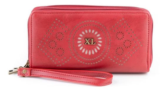 Billetera 2 Cierres Mujer Xl Extra Large Nidia Rojo