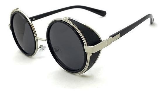 Óculos Solar Redondo Steampunk Retrô Vintage + Case