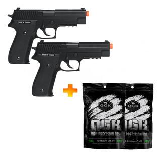 2 Pistolas De Airsoft À Gás Gbb Sig Suaer P226r + 4000 Bb