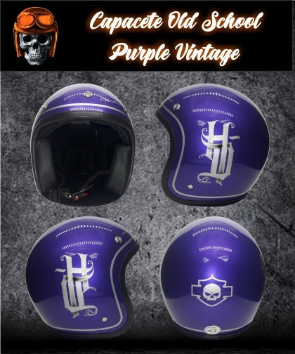 Capacete Old School G.kustom - Purple Vintage