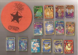 14 Tazos Retangulares Pokemon + Tape Tazos