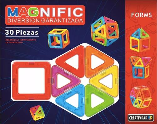 Bloques Imanes Didáctico Magnéticos Magnific Forms 30 Pieza