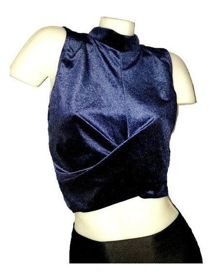 2x1 Tops Chiffon + Minifalda Lycra T.s Negro Y Azul Chicas