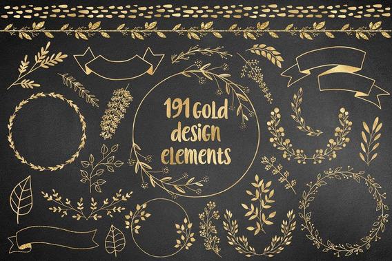 Kit Imprimible Clipart Imagenes Frames Png Elementos Dorado