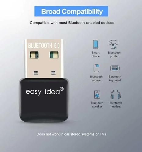 Imagen 1 de 3 de Adaptador Transmisor Receptor Bluetooth 5.0 Usb Notebook Pc