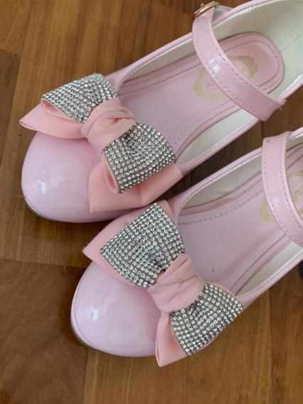 Disney Zapatillas Con Taco De Nena Rosa Charol ¿ T 30/31
