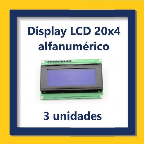 Display Lcd Alfanumérico 20x4 - Kit Com 3 Unidades