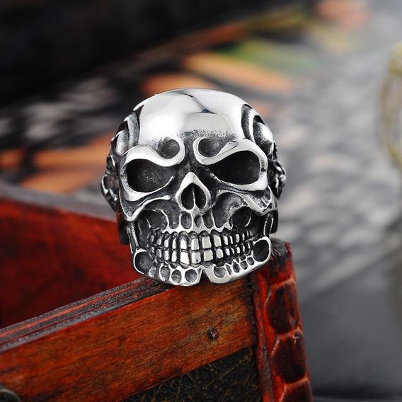 Anel Caveira Aço Motoqueiro Punk Moto Harley Rock Gotico Exu