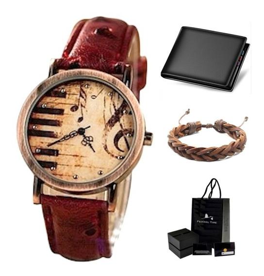Relógio Vintage Moda Couro Avestruz + Carteira + Pulseira
