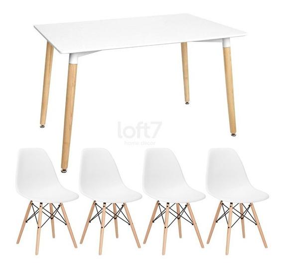 Kit Mesa Jantar Eames Wood Retangular 4 Cadeiras Eiffel Dsw