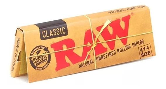 Papel Sedas Raw Classic Clasico 1 1/4 Pack X 5