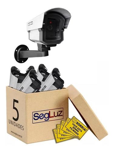 Câmera Segurança Falsa C/ Led Bivolt + 5 Placas Sorria 5pçs