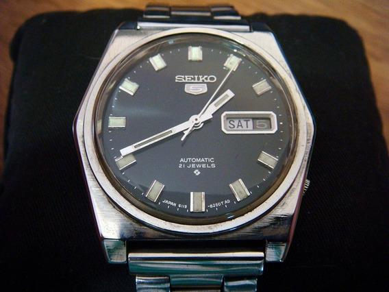 Impecable Reloj Seiko 5 Japan Dial Azul Marino Colección 70s