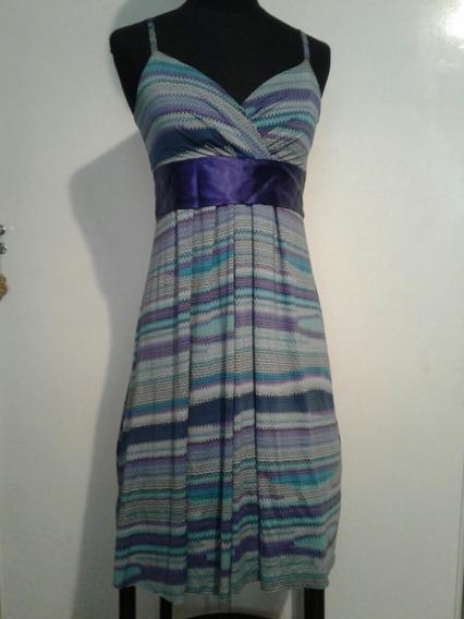 Vestido Solera Modal Cinta Raso Violeta Talle Small