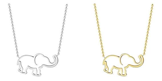 Colar Elefantinho Em Aço Inox 304 Folheado A Ouro