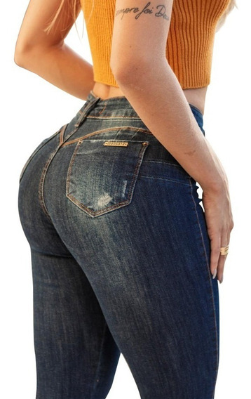 Calça Jeans Feminina Cintura Alta Rasgadinha Estilo Pit Bull