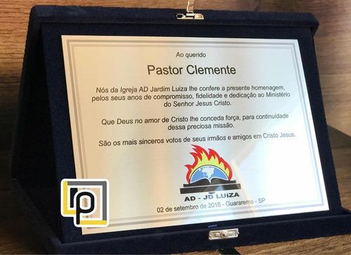 Placa Homenagem Pastor