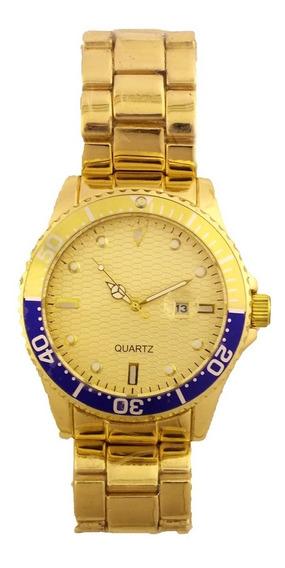 Relógio De Pulso Masculino Quartz Pulseira Dourada B5685