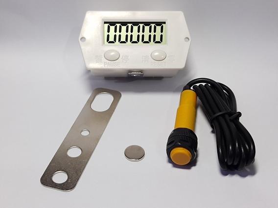 Contador Pulsos Lcd Indução Magnética C/sensor Suporte E Imã