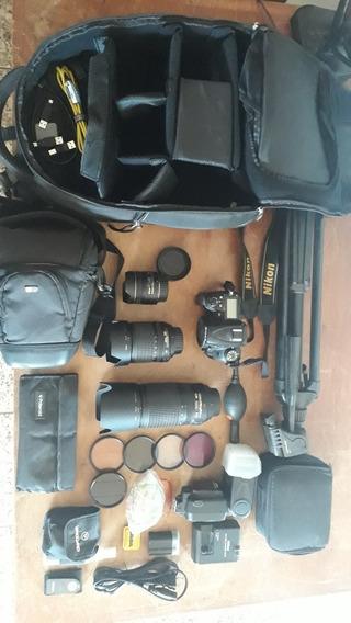 Kit Nikon Câmera + Lentes + Flash + Mochila + Tripé...