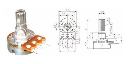 Potenciômetro Linear Eixo Curto ( Lote 50 Peças ) Mix Valor