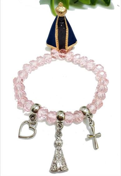 Pulseira Nossa Senhora Aparecida Oxum Cristal Rosa