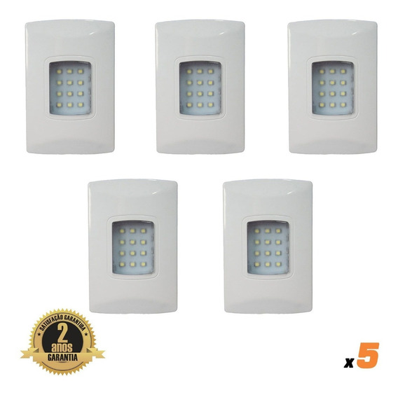 Kit 5x Luminaria Emergencia Led Embutir Certificado Op3.