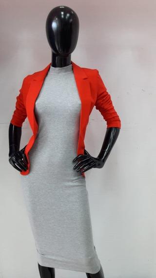 Vestido De Cuello Alto - Gris Claro
