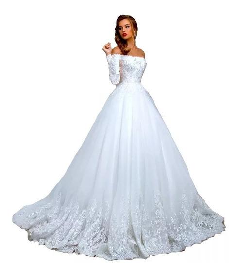 Nb74 Vestido De Noiva Renda Princesa Barato Véu Cauda Promo
