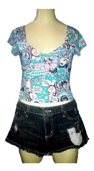 Conjunto Mini Short Jean + Tops Noche Playa Verano Chicas
