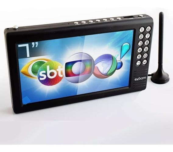 Mini Tv Digital Portátil 7 Hd E Sd Antena Amplificada Exbom