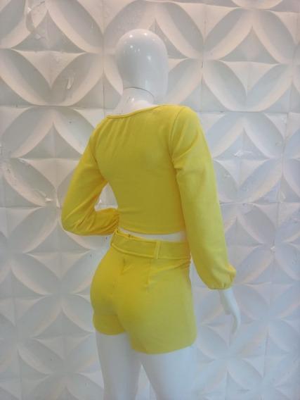 3 Conjunto Macaquinho Feminino Short Cropped Top Luxo Barato