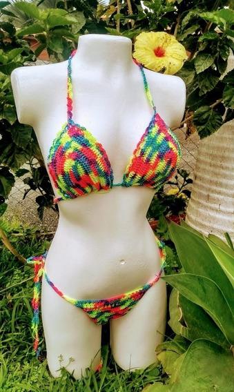 Bikini En Crochet - Vestido De Baño Bronceo