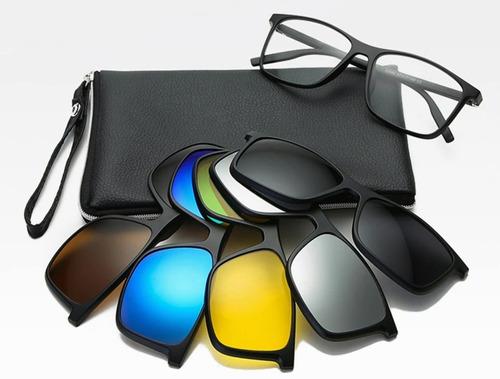 Imagen 1 de 10 de Lentes 5 En 1 Gafas De Sol Polarizadas Con 5 Clips Magnético