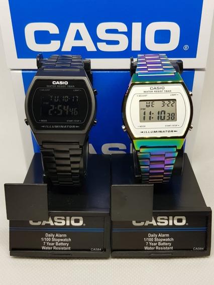 Reloj Casio Negro Mate + Tornasol B640w Duo Retro Vintage