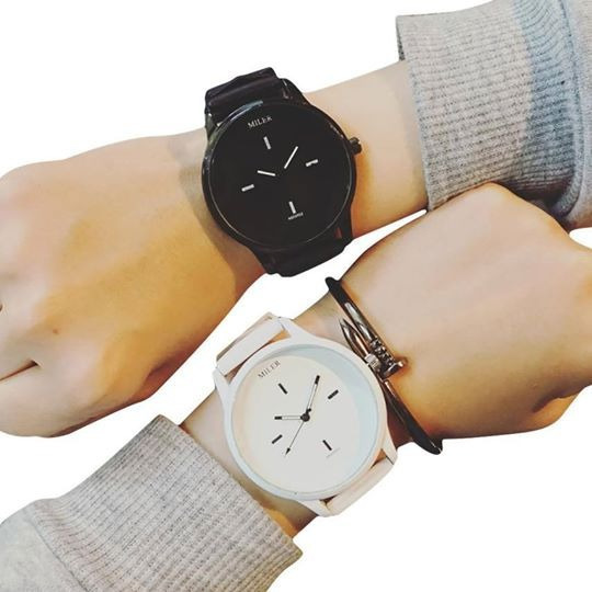 Duo Relojes Parejas Enamorados Negro Blanco Fashion