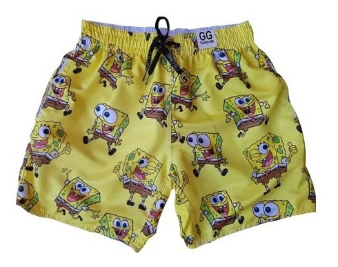 Shorts Estampado Tactel Masculino Short Praia Bob Esponja
