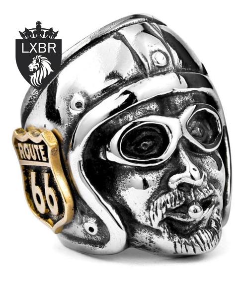 Anel Aço Inox Ouro 18k Original Motociclista Harley Route 66 Caveira Punk Metal Grupo Rota 66 Masculino Lxbr A113