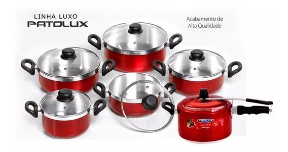 Jogo De Panelas Patolux Vermelho + Panela De Pressão 5 Litro