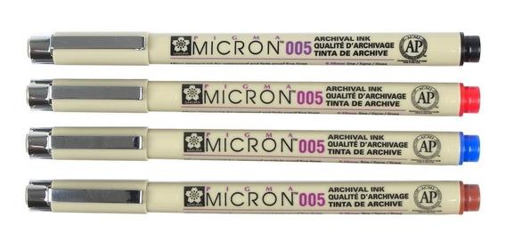 Caneta Nanquim Pigma Micron Sakura 005 Kit C/ 4 Cores