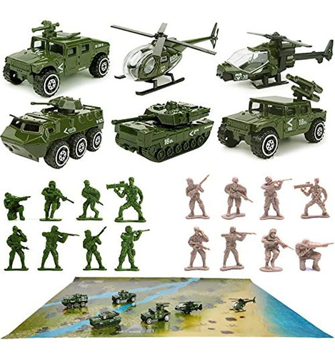 Juego De 23 Unidades De Vehículos Militares, Color Verde