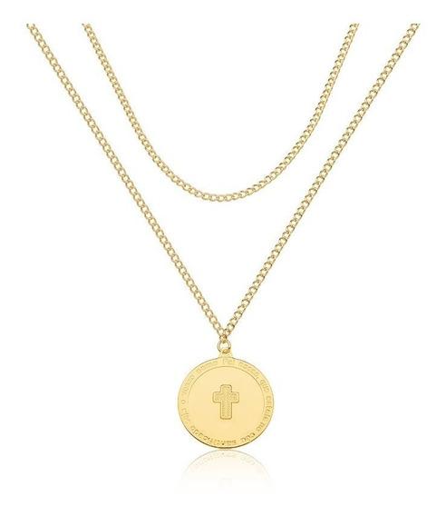 Colar Camadas Cruz Crucifixo Feminino Folheado Ouro Dourado