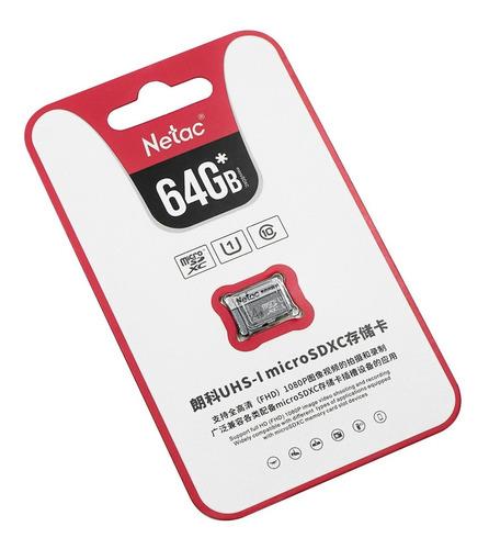 Tarjeta Micro Sd 64gb Clase 10 Netac Soporta Full Hd 1080p