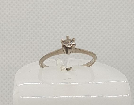Anel Solitário Em Ouro Branco 18k Diamante 8 Pontos